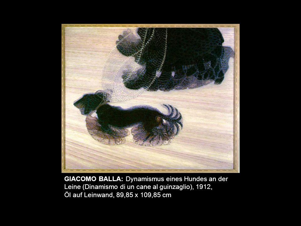 GIACOMO BALLA: Dynamismus eines Hundes an der Leine (Dinamismo di un cane al guinzaglio), 1912, Öl auf Leinwand, 89,85 x 109,85 cm