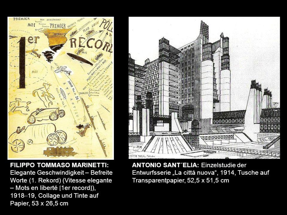 FILIPPO TOMMASO MARINETTI: Elegante Geschwindigkeit – Befreite Worte (1. Rekord) (Vitesse elegante – Mots en liberté [ 1er record ] ), 1918 – 19, Coll