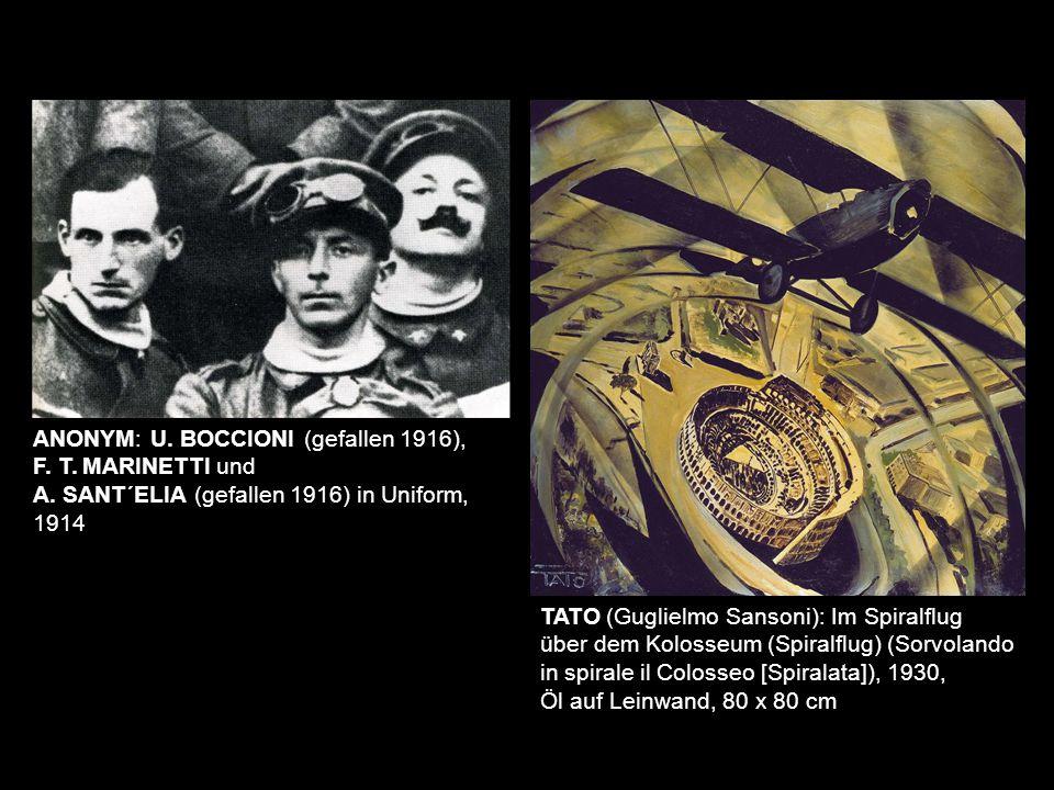 TATO (Guglielmo Sansoni): Im Spiralflug über dem Kolosseum (Spiralflug) (Sorvolando in spirale il Colosseo [Spiralata]), 1930, Öl auf Leinwand, 80 x 8
