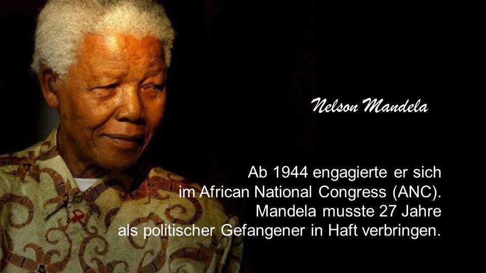 Ab 1944 engagierte er sich im African National Congress (ANC).