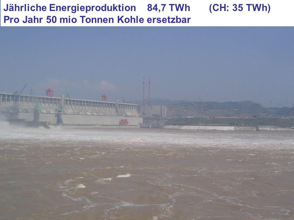 Jährliche Energieproduktion 84,7 TWh (CH: 35 TWh) Pro Jahr 50 mio Tonnen Kohle ersetzbar