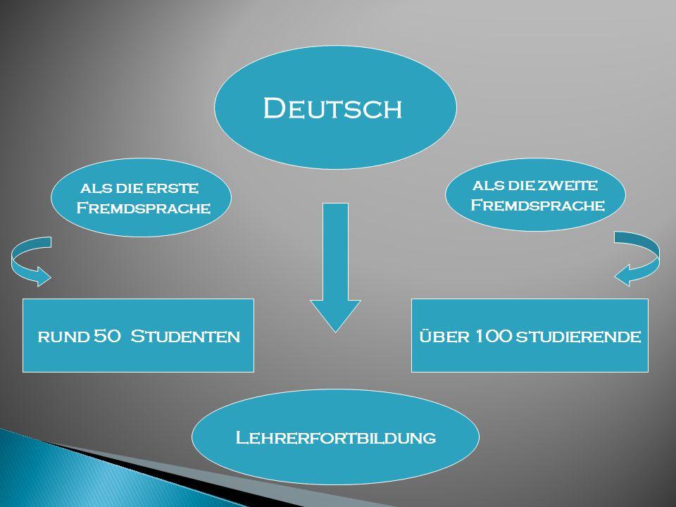 Deutsch rund 50 Studenten als die erste Fremdsprache als die zweite Fremdsprache über 100 studierende Lehrerfortbildung