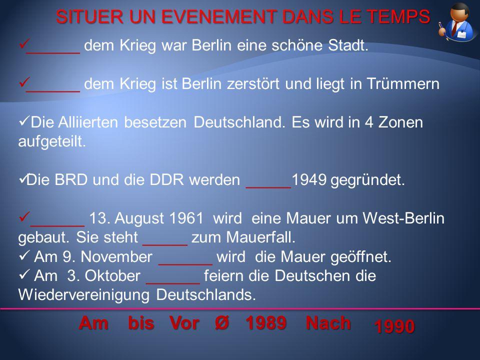 SITUER UN EVENEMENT DANS LE TEMPS SITUER UN EVENEMENT DANS LE TEMPS ______ dem Krieg war Berlin eine schöne Stadt. ______ dem Krieg ist Berlin zerstör