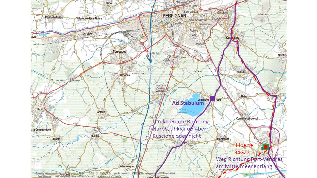 Illiberre 34Ga3 Ad Stabulum Weg Richtung Port-Vendres, am Mittelmeer entlang Direkte Route Richtung Narbo, unklar ob über Ruscione oder nicht