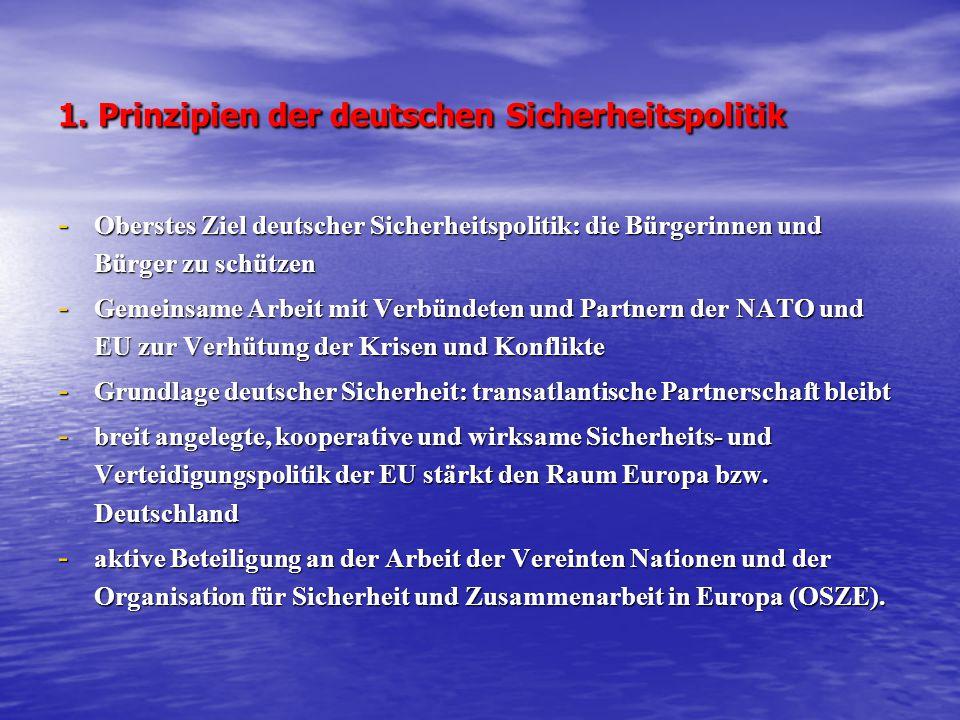 1. Prinzipien der deutschen Sicherheitspolitik - Oberstes Ziel deutscher Sicherheitspolitik: die Bürgerinnen und Bürger zu schützen - Gemeinsame Arbei