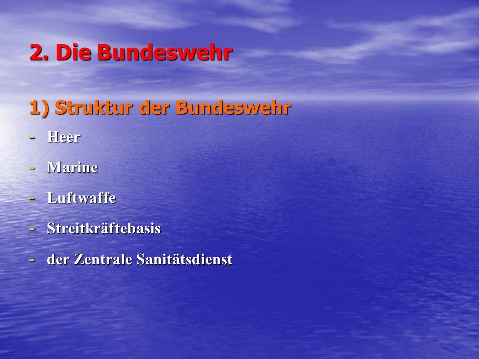 2. Die Bundeswehr 1) Struktur der Bundeswehr - Heer - Marine - Luftwaffe - Streitkräftebasis - der Zentrale Sanitätsdienst