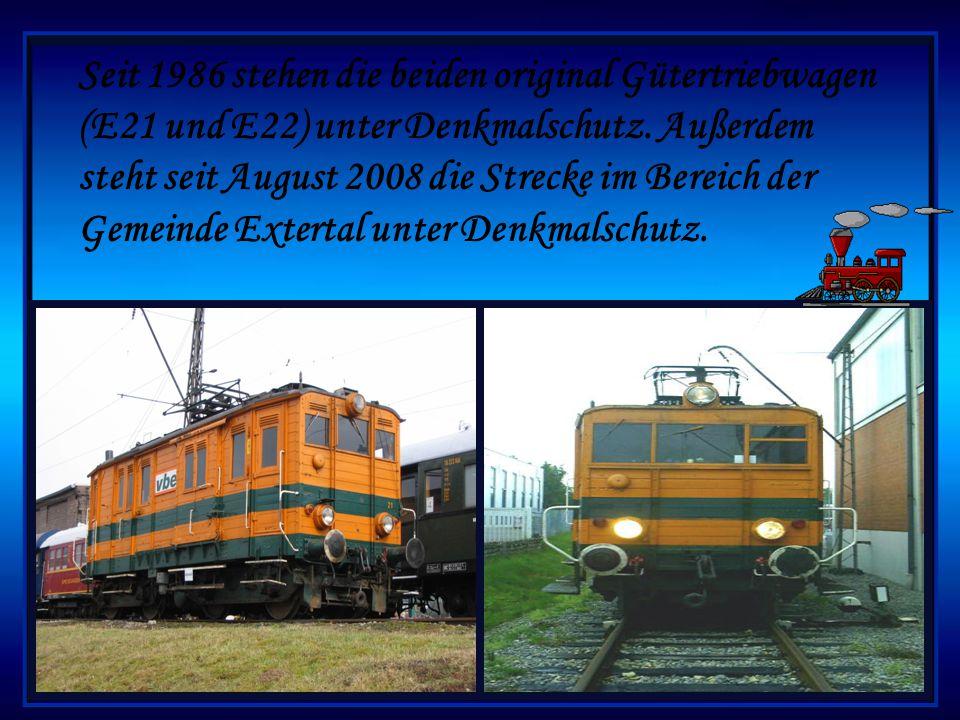 Der Personenverkehr spielte nie eine bedeutende Rolle er wurde 1966 eingestellt.Seit 1969 verkehrten auf der Extertalbahn damit nur noch sporadisch Gü