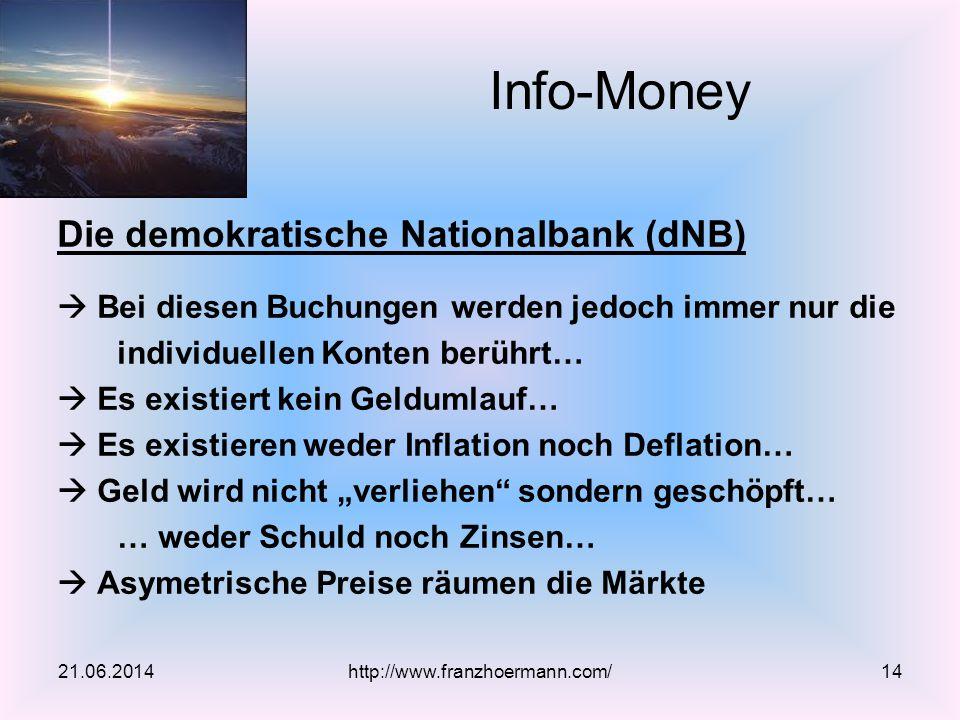 Die demokratische Nationalbank (dNB)  Bei diesen Buchungen werden jedoch immer nur die individuellen Konten berührt…  Es existiert kein Geldumlauf…