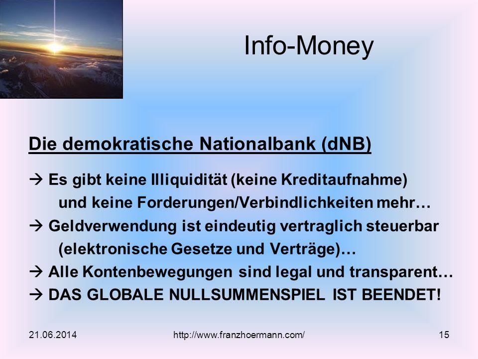 Die demokratische Nationalbank (dNB)  Es gibt keine Illiquidität (keine Kreditaufnahme) und keine Forderungen/Verbindlichkeiten mehr…  Geldverwendun