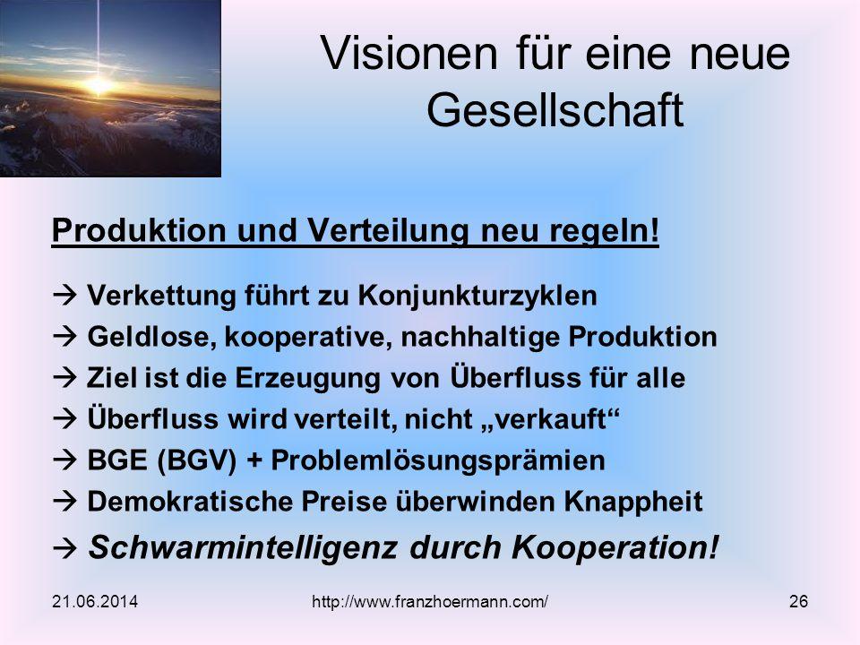 Produktion und Verteilung neu regeln!  Verkettung führt zu Konjunkturzyklen  Geldlose, kooperative, nachhaltige Produktion  Ziel ist die Erzeugung