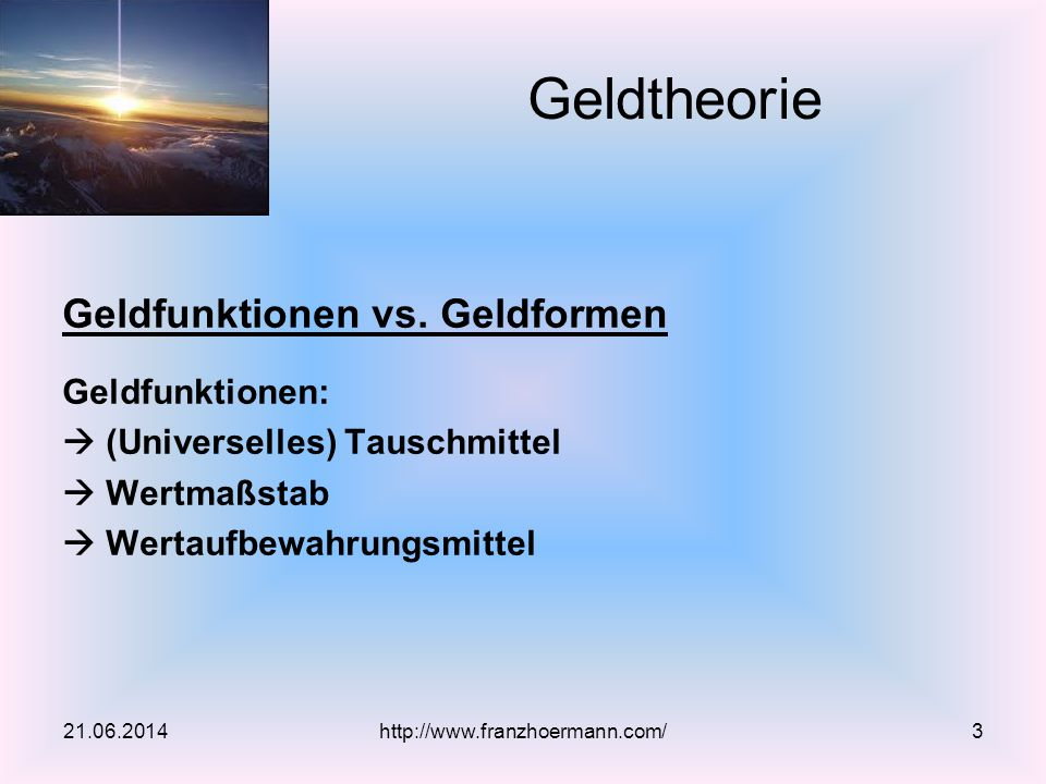 Geldfunktionen vs.