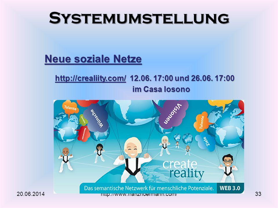 Systemumstellung 20.06.2014http://www.franzhoermann.com/33 Neue soziale Netze http://crealiity.com/http://crealiity.com/ 12.06. 17:00 und 26.06. 17:00