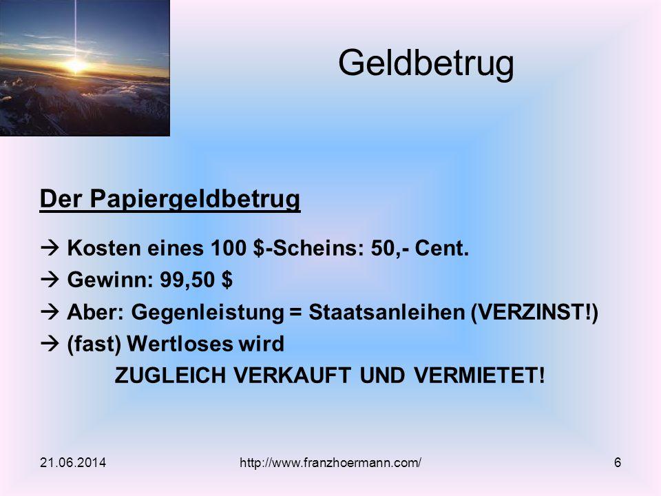 Bisher: Individualtausch 21.06.2014http://www.franzhoermann.com/17