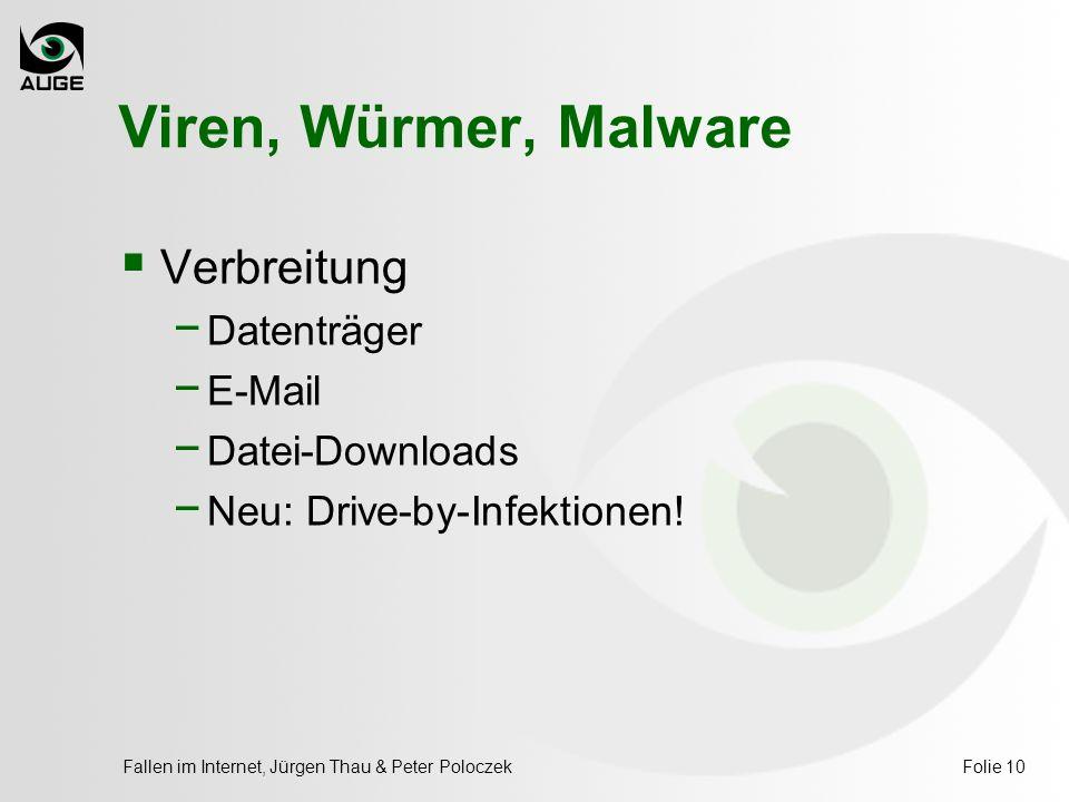 Fallen im Internet, Jürgen Thau & Peter PoloczekFolie 10 Viren, Würmer, Malware  Verbreitung − Datenträger − E-Mail − Datei-Downloads − Neu: Drive-by-Infektionen!