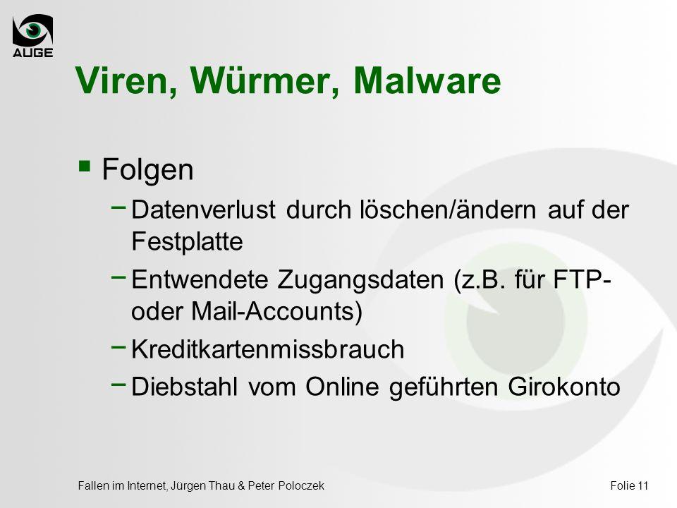 Fallen im Internet, Jürgen Thau & Peter PoloczekFolie 11 Viren, Würmer, Malware  Folgen − Datenverlust durch löschen/ändern auf der Festplatte − Entwendete Zugangsdaten (z.B.