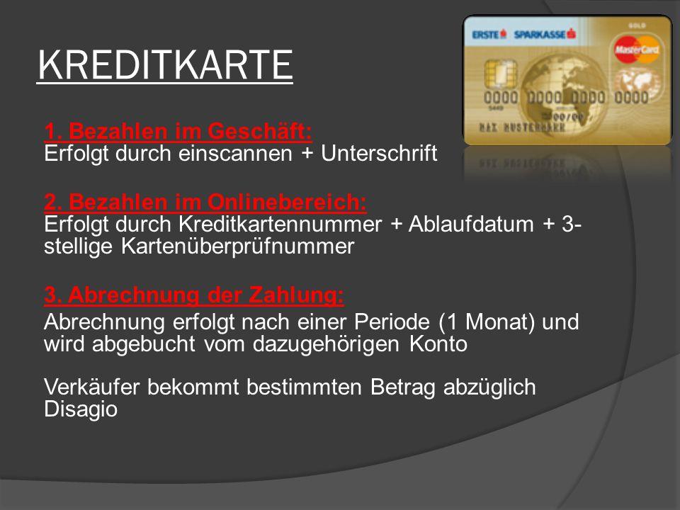 KREDITKARTE 1. Bezahlen im Geschäft: Erfolgt durch einscannen + Unterschrift 2. Bezahlen im Onlinebereich: Erfolgt durch Kreditkartennummer + Ablaufda