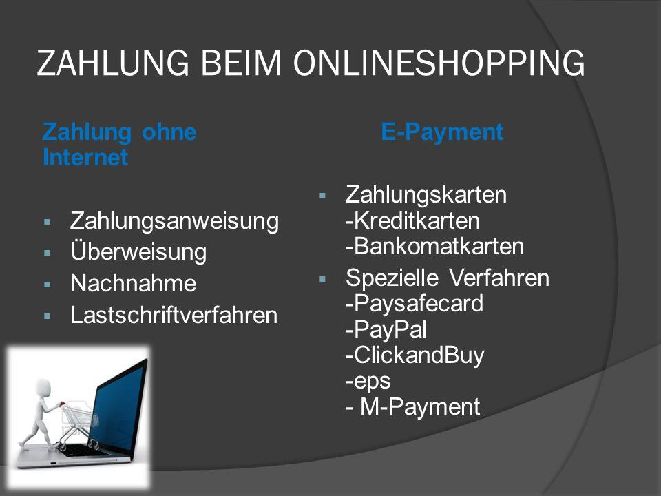 ZAHLUNG BEIM ONLINESHOPPING Zahlung ohne Internet  Zahlungsanweisung  Überweisung  Nachnahme  Lastschriftverfahren E-Payment  Zahlungskarten -Kre
