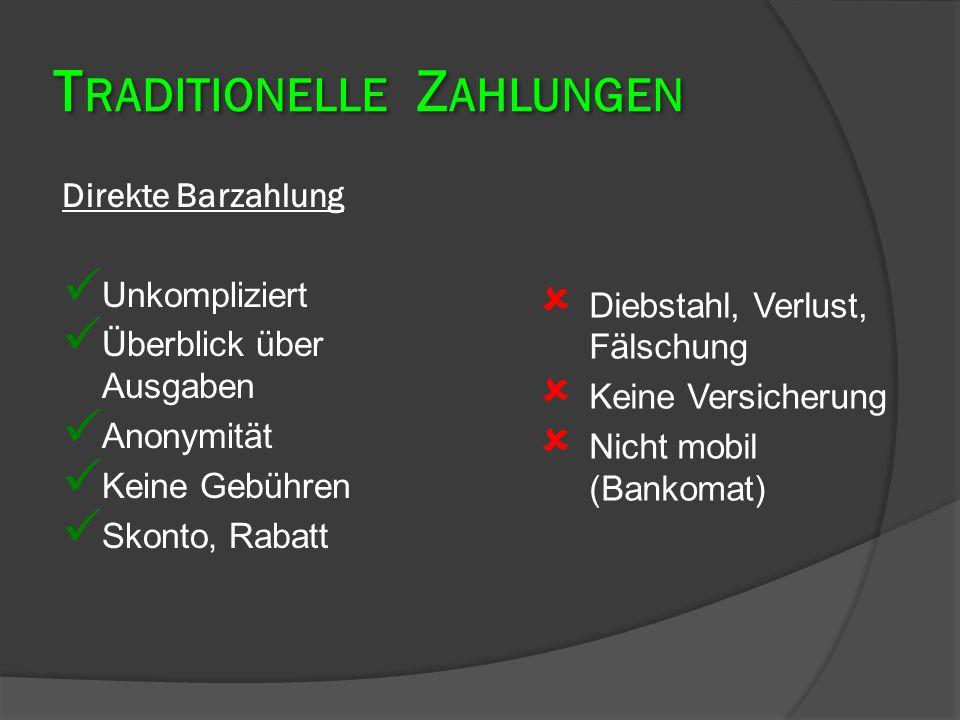 Indirekte Barzahlung Verwendung: €Kein Bankkonto €Auf Reisen €Kleine Zahlung außerhalb der EU Zu beachten: €Empfänger ist selbstverantwortlich €Abholung = 1 Monat €Ausweispflicht Inlandspostanweisung EurogiroWestern Union