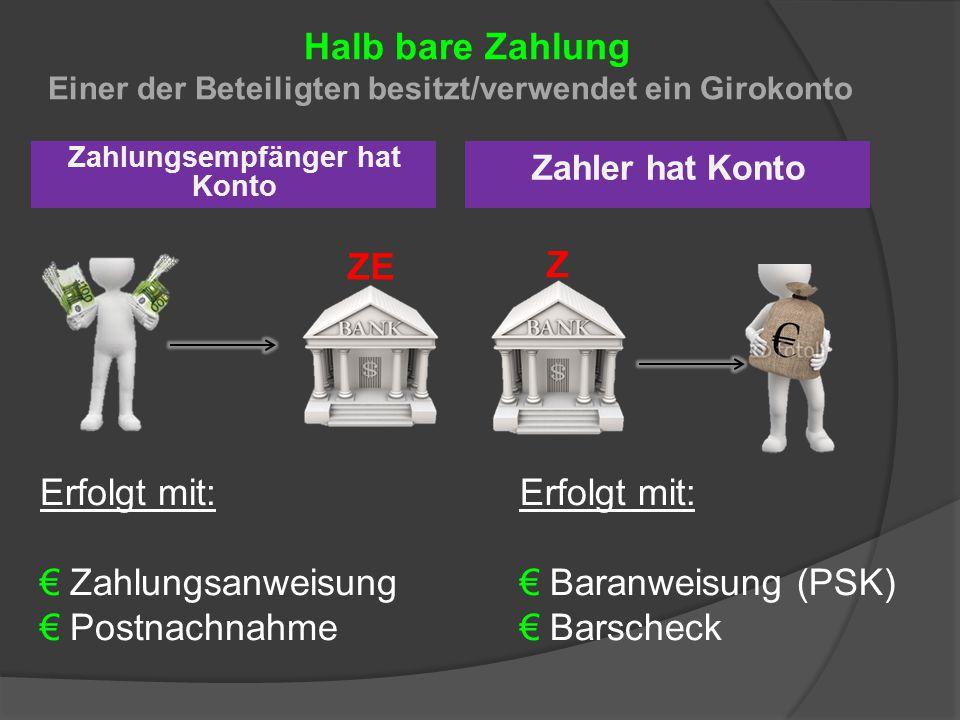 Halb bare Zahlung Einer der Beteiligten besitzt/verwendet ein Girokonto Zahlungsempfänger hat Konto Zahler hat Konto Z ZE Erfolgt mit: €Zahlungsanweis