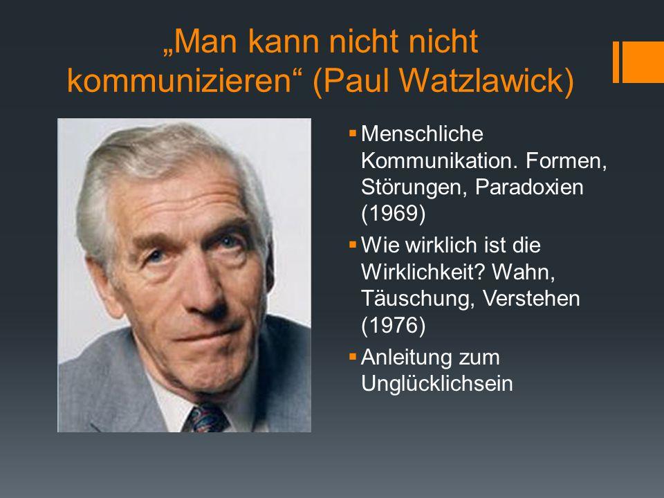 """""""Man kann nicht nicht kommunizieren"""" (Paul Watzlawick)  Menschliche Kommunikation. Formen, Störungen, Paradoxien (1969)  Wie wirklich ist die Wirkli"""