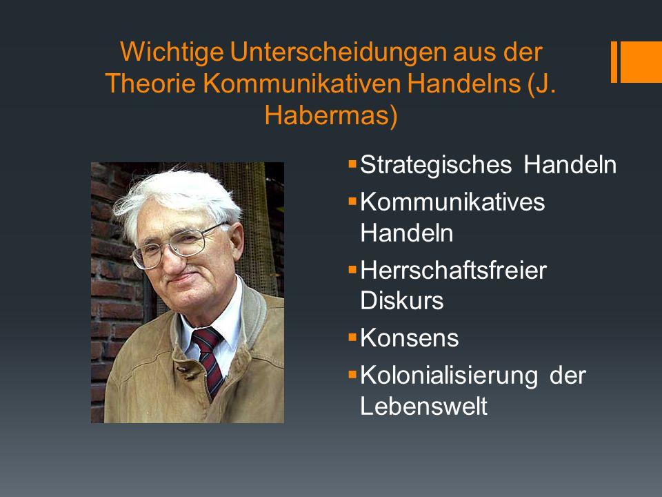 Wichtige Unterscheidungen aus der Theorie Kommunikativen Handelns (J. Habermas)  Strategisches Handeln  Kommunikatives Handeln  Herrschaftsfreier D
