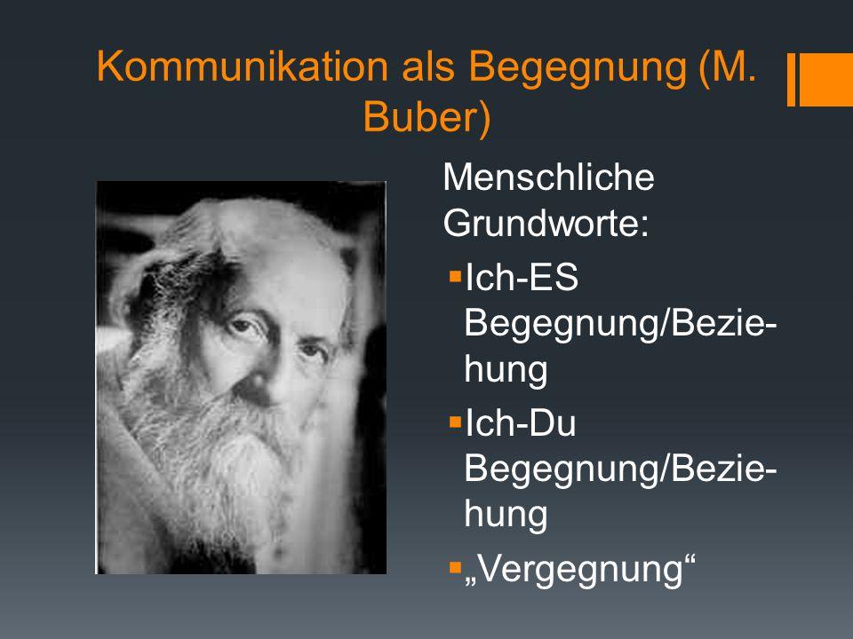 """Kommunikation als Begegnung (M. Buber) Menschliche Grundworte:  Ich-ES Begegnung/Bezie- hung  Ich-Du Begegnung/Bezie- hung  """"Vergegnung"""""""