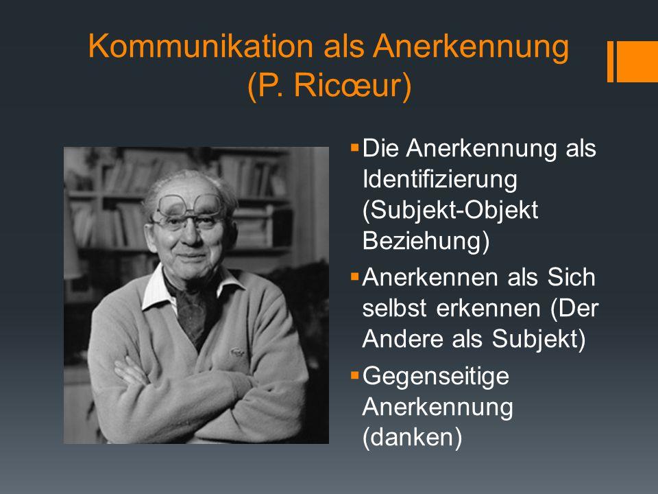 Kommunikation als Anerkennung (P. Ricœur)  Die Anerkennung als Identifizierung (Subjekt-Objekt Beziehung)  Anerkennen als Sich selbst erkennen (Der
