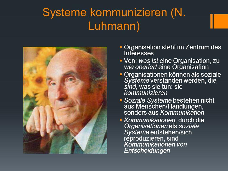 Systeme kommunizieren (N. Luhmann)  Organisation steht im Zentrum des Interesses  Von: was ist eine Organisation, zu wie operiert eine Organisation