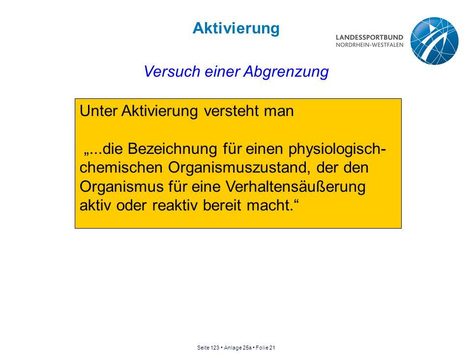 """Aktivierung Unter Aktivierung versteht man """"...die Bezeichnung für einen physiologisch- chemischen Organismuszustand, der den Organismus für eine Verh"""