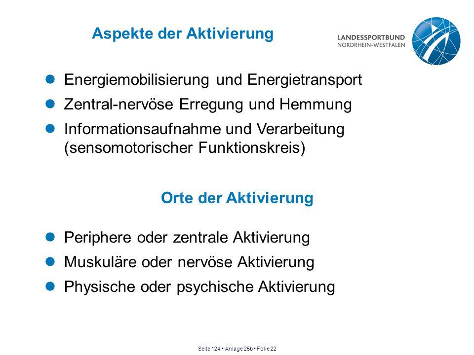 Aspekte der Aktivierung Energiemobilisierung und Energietransport Zentral-nervöse Erregung und Hemmung Informationsaufnahme und Verarbeitung (sensomot
