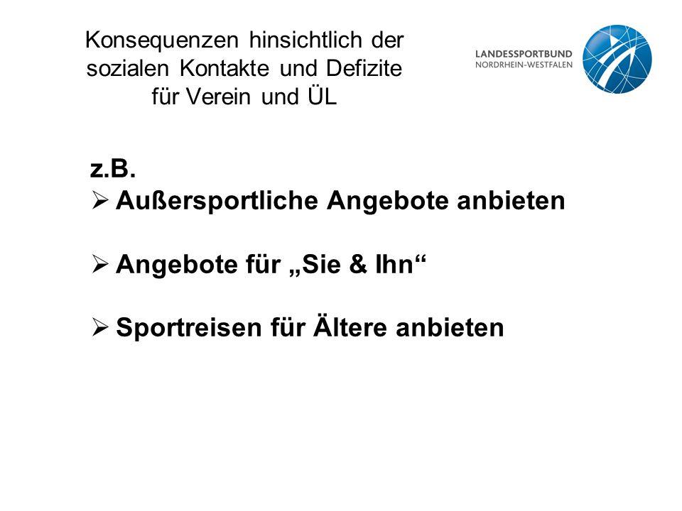 """Konsequenzen hinsichtlich der sozialen Kontakte und Defizite für Verein und ÜL z.B.  Außersportliche Angebote anbieten  Angebote für """"Sie & Ihn""""  S"""