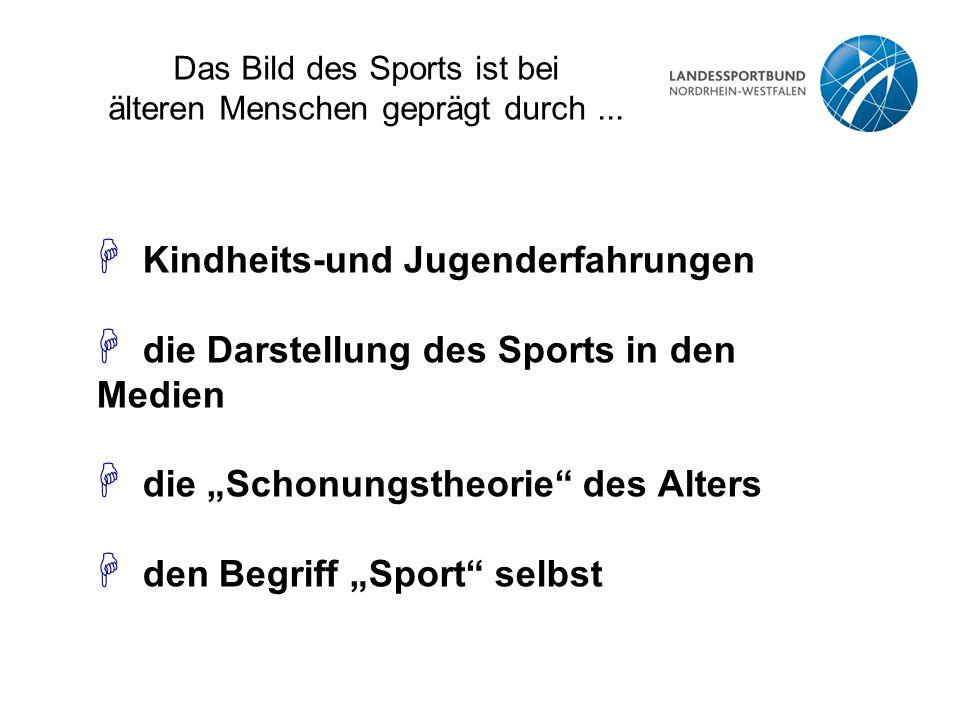 """Das Bild des Sports ist bei älteren Menschen geprägt durch... H Kindheits-und Jugenderfahrungen H die Darstellung des Sports in den Medien H die """"Scho"""