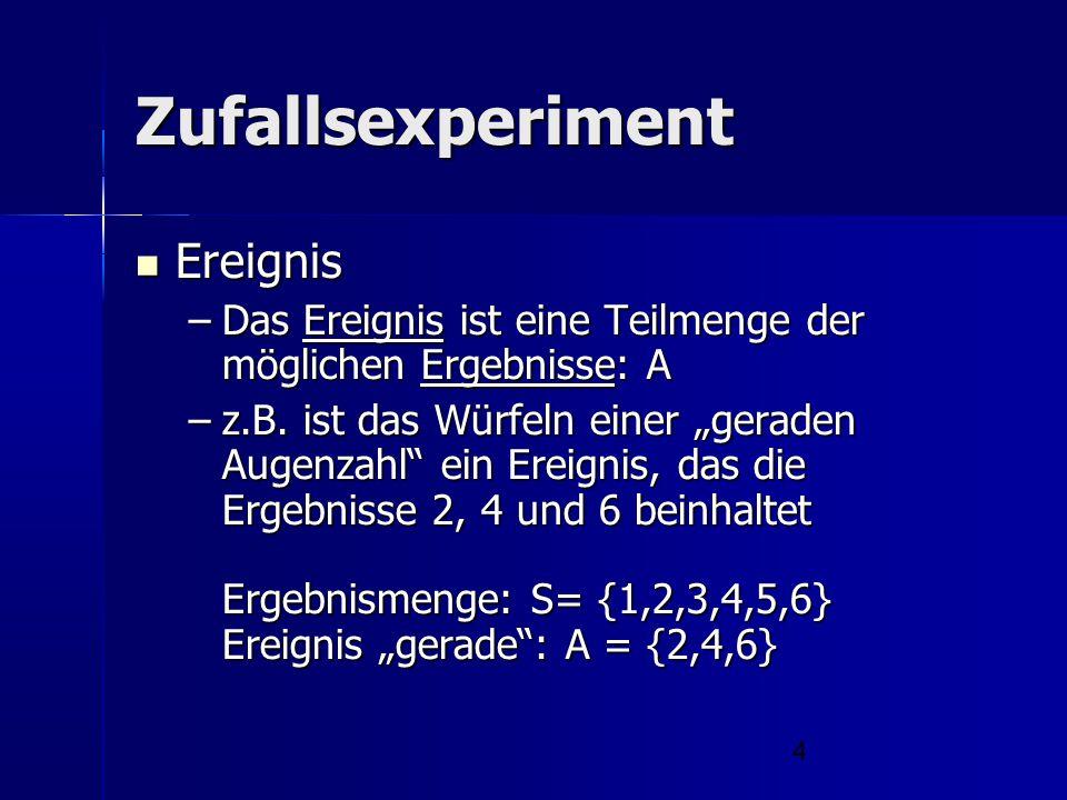 """4 Zufallsexperiment Ereignis Ereignis –Das Ereignis ist eine Teilmenge der möglichen Ergebnisse: A –z.B. ist das Würfeln einer """"geraden Augenzahl"""" ein"""