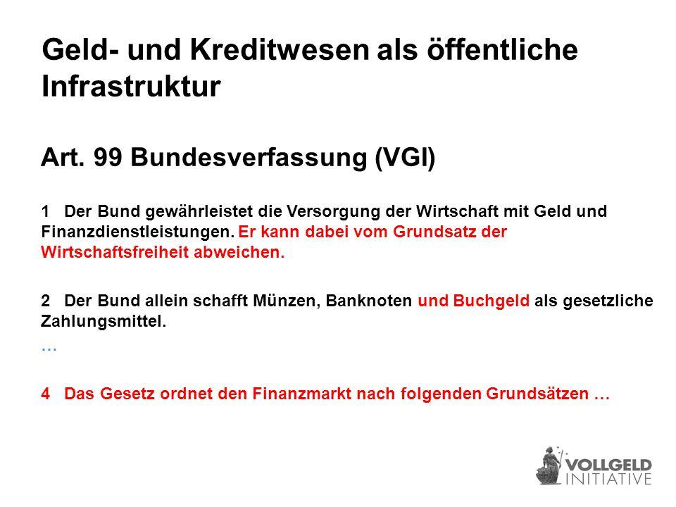 Finanzmarktregulierung – Initiativtext 1 Der Bund gewährleistet die Versorgung der Wirtschaft mit Geld und Finanzdienstleistungen.