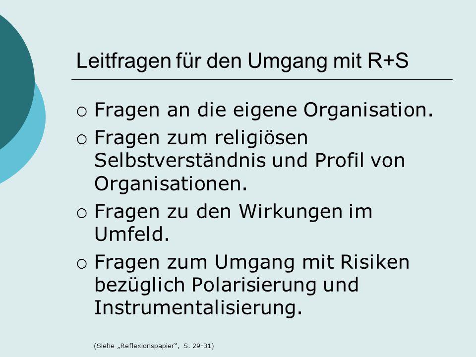 Leitfragen für den Umgang mit R+S  Fragen an die eigene Organisation.  Fragen zum religiösen Selbstverständnis und Profil von Organisationen.  Frag