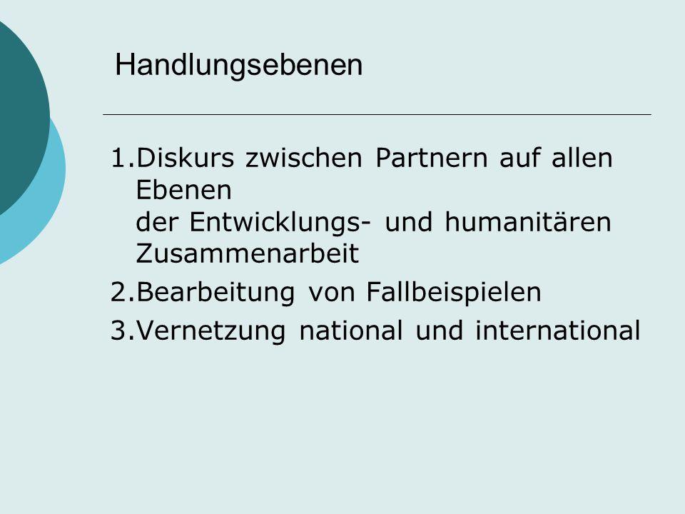 Handlungsebenen 1.Diskurs zwischen Partnern auf allen Ebenen der Entwicklungs- und humanitären Zusammenarbeit 2.Bearbeitung von Fallbeispielen 3.Verne