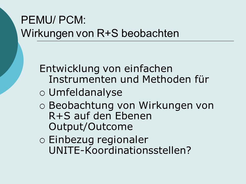 PEMU/ PCM: Wirkungen von R+S beobachten Entwicklung von einfachen Instrumenten und Methoden für  Umfeldanalyse  Beobachtung von Wirkungen von R+S au