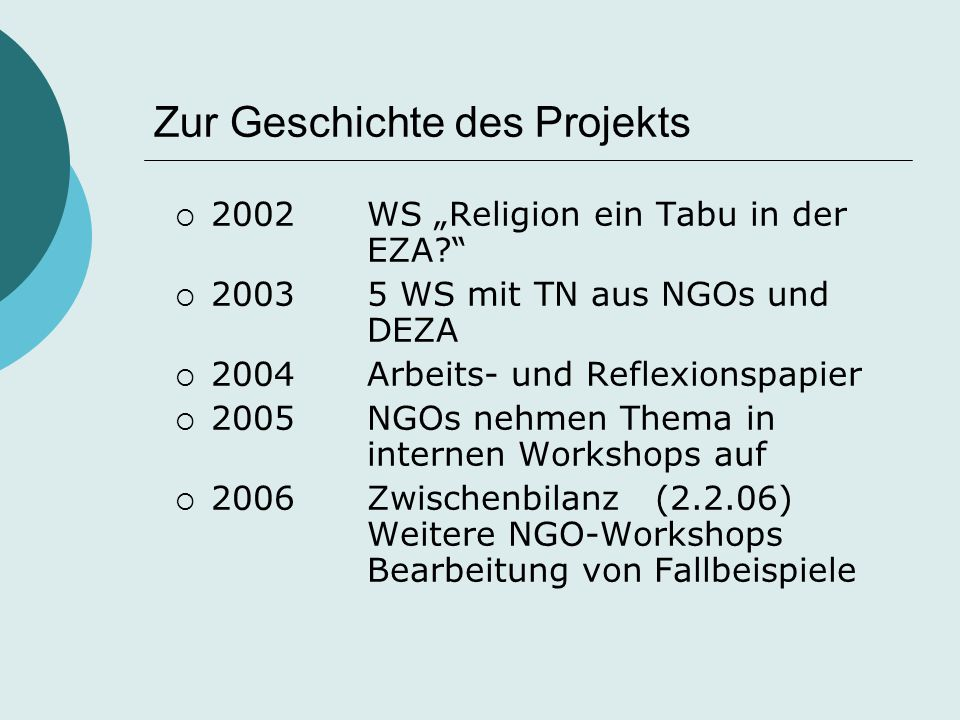 """Zur Geschichte des Projekts  2002WS """"Religion ein Tabu in der EZA?""""  20035 WS mit TN aus NGOs und DEZA  2004Arbeits- und Reflexionspapier  2005NGO"""
