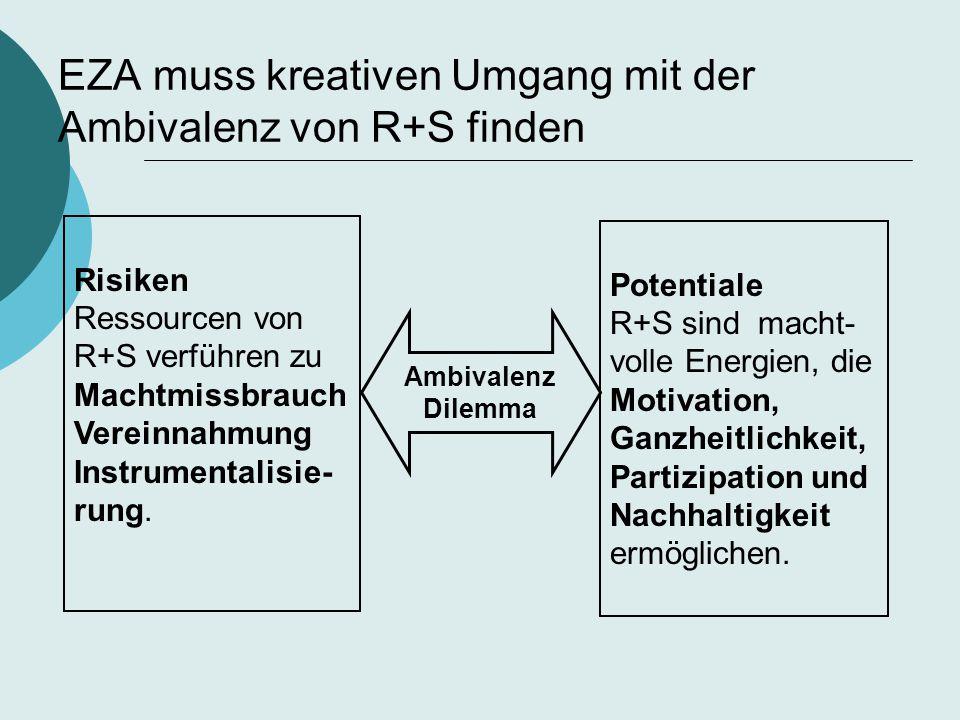 Risiken Ressourcen von R+S verführen zu Machtmissbrauch Vereinnahmung Instrumentalisie- rung. Potentiale R+S sind macht- volle Energien, die Motivatio