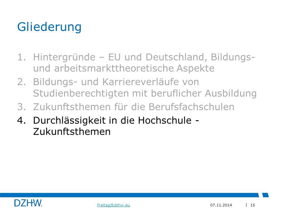 15 freitag@dzhw.eufreitag@dzhw.eu07.11.2014 Gliederung 1.Hintergründe – EU und Deutschland, Bildungs- und arbeitsmarkttheoretische Aspekte 2.Bildungs- und Karriereverläufe von Studienberechtigten mit beruflicher Ausbildung 3.Zukunftsthemen für die Berufsfachschulen 4.Durchlässigkeit in die Hochschule - Zukunftsthemen