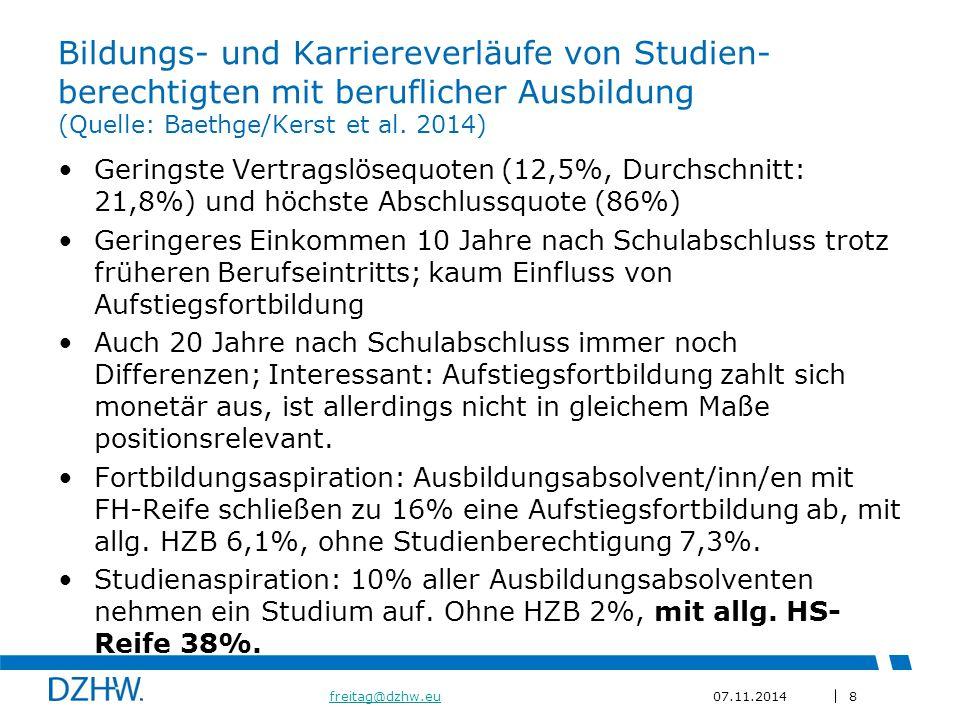 8 freitag@dzhw.eufreitag@dzhw.eu07.11.2014 Bildungs- und Karriereverläufe von Studien- berechtigten mit beruflicher Ausbildung (Quelle: Baethge/Kerst et al.