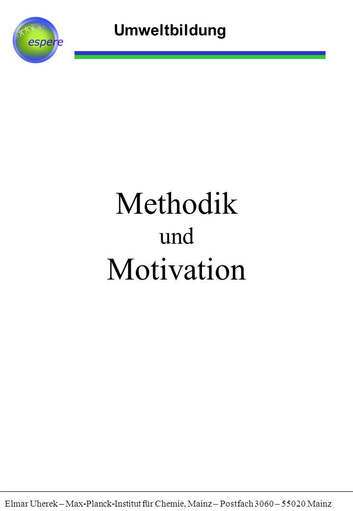 Umweltbildung Methodik und Motivation Elmar Uherek – Max-Planck-Institut für Chemie, Mainz – Postfach 3060 – 55020 Mainz