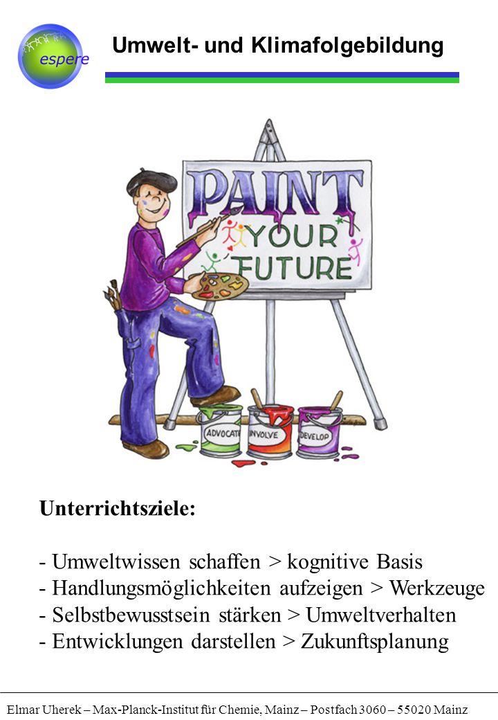 Umwelt- und Klimafolgebildung Elmar Uherek – Max-Planck-Institut für Chemie, Mainz – Postfach 3060 – 55020 Mainz Unterrichtsziele: - Umweltwissen schaffen > kognitive Basis - Handlungsmöglichkeiten aufzeigen > Werkzeuge - Selbstbewusstsein stärken > Umweltverhalten - Entwicklungen darstellen > Zukunftsplanung
