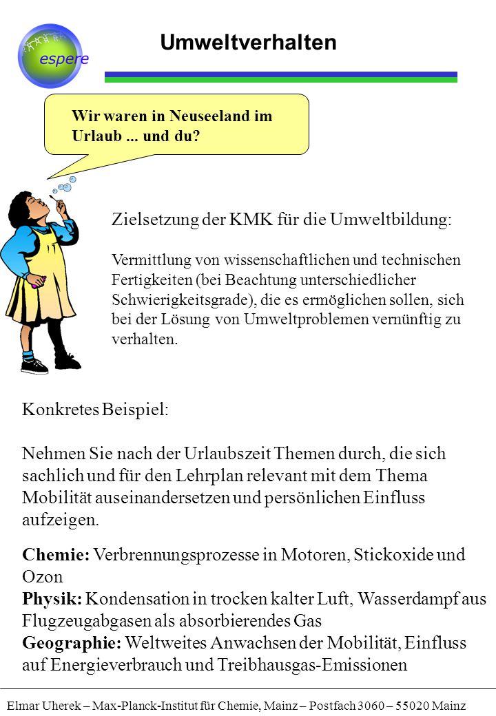 """Aktionskunde Elmar Uherek – Max-Planck-Institut für Chemie, Mainz – Postfach 3060 – 55020 Mainz Umweltverhalten Strategie """"Umweltmarketing Naturwissenschaft Fachwissen Handlungsanleitung geben (primär) Weitergabe unterstützen (sekundär) ( Unterrichtswirkung verfolgen )"""