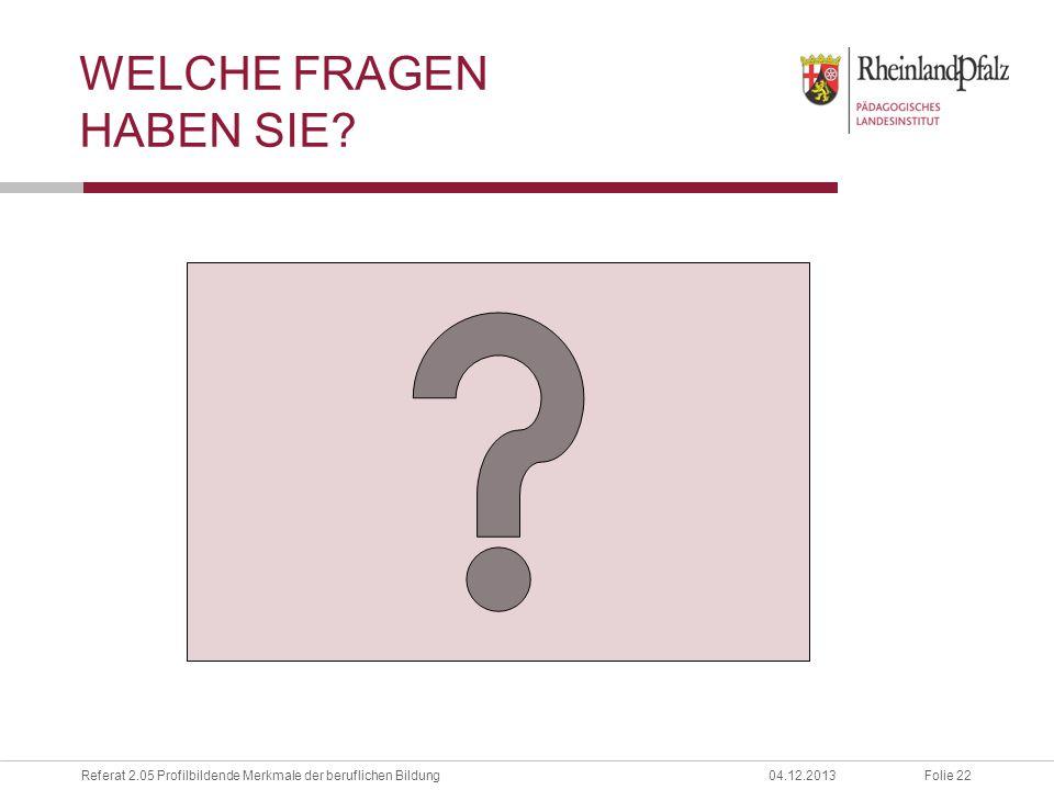 Folie 22Referat 2.05 Profilbildende Merkmale der beruflichen Bildung04.12.2013 WELCHE FRAGEN HABEN SIE?