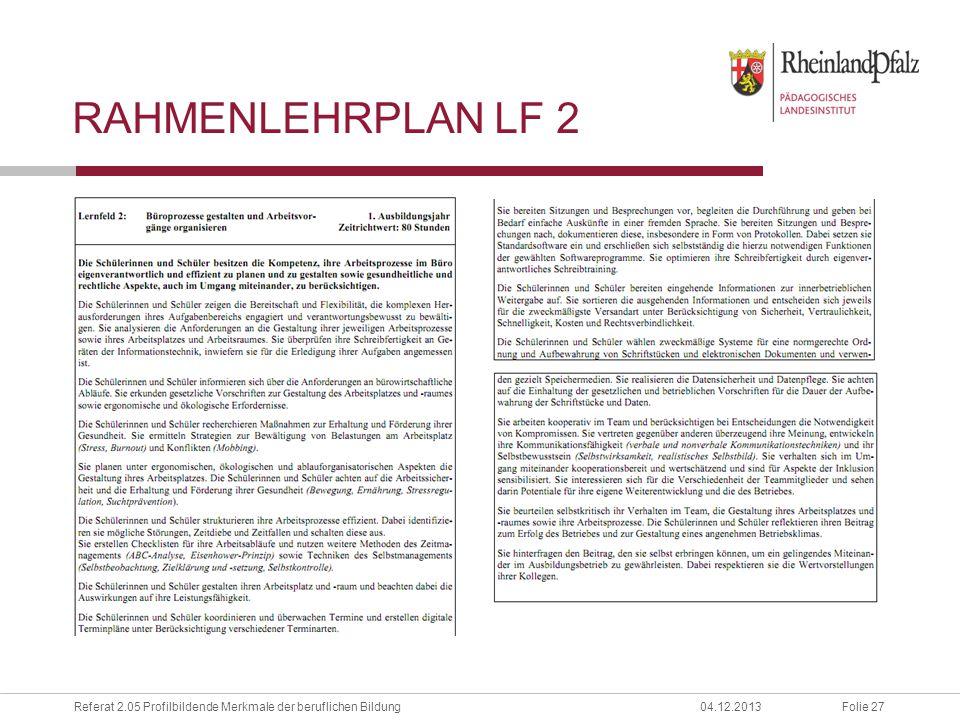 Folie 27Referat 2.05 Profilbildende Merkmale der beruflichen Bildung04.12.2013 RAHMENLEHRPLAN LF 2