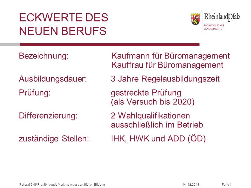 Folie 4Referat 2.05 Profilbildende Merkmale der beruflichen Bildung04.12.2013 ECKWERTE DES NEUEN BERUFS Bezeichnung:Kaufmann für Büromanagement Kauffr