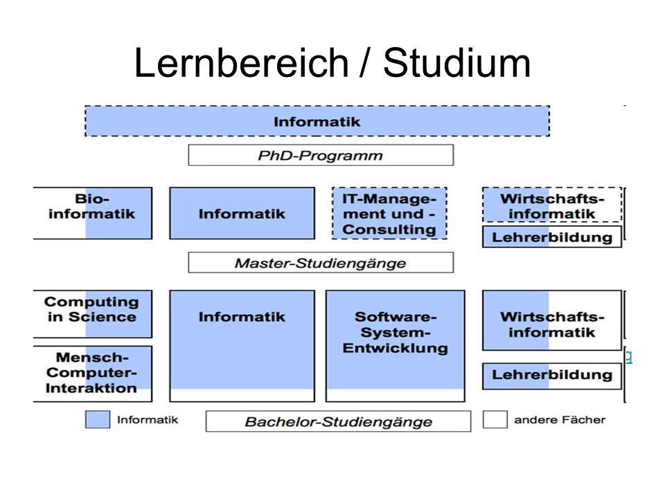 Lernbereich / Studium Erlernen der Grundlagen: –Praktischen, theoretischen und technischen Informatik und Mathematik –Typische Lehrinhalte stellen Log