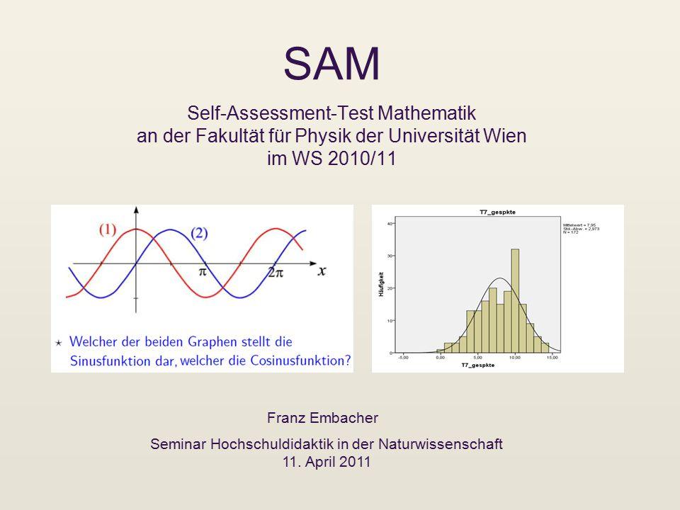 SAM Self-Assessment-Test Mathematik an der Fakultät für Physik der Universität Wien im WS 2010/11 Franz Embacher Seminar Hochschuldidaktik in der Naturwissenschaft 11.
