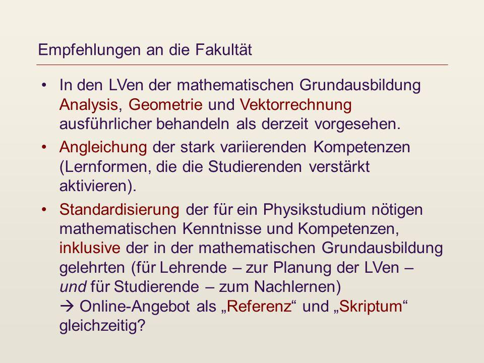 Empfehlungen an die Fakultät In den LVen der mathematischen Grundausbildung Analysis, Geometrie und Vektorrechnung ausführlicher behandeln als derzeit vorgesehen.